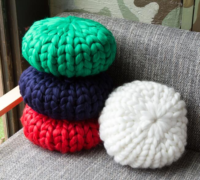 Hand Woven Coarse Line Pillow Sofa Cushion Pillow Pillow Thick line Round Wool Ball