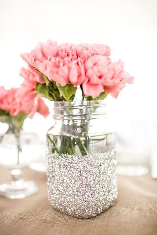 Sparkly Silver Sequins Mason Jar for Wedding Party Without Flowers