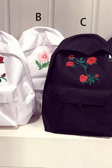 Vinatge Rose Embroidered Backpack Back to School Bag