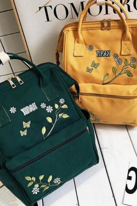 Vintage Flower Embroidered Backpack Bag all-match College Junior High School Students
