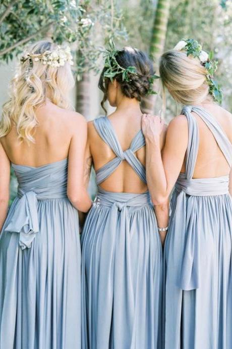 Convertible Sky Blue Long Bridesmaid Dresses for Wedding Party