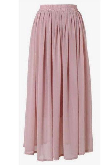 Blush Tulle Elasticised High Rise Long A-Line Skirt