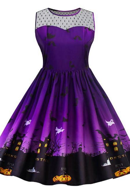 Purple Sleeveless Halloween Haunted House and Scary Pumpkins Dress Costume