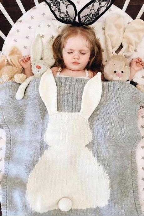 Hot Selling Rabbit Ears, Blankets, 3D Rabbit Blankets, Children's Knitted Blankets, Beach Mats,Baby Blankets for Gifts