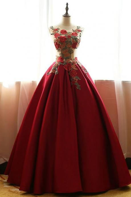 Charming Sheer Neck Dark Red Empire Prom Dresses Evening Gowns with Flowers