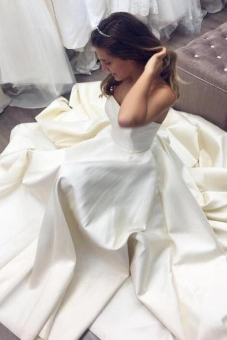 Simple Strapless Long Wedding Dresses Bridal Gowns