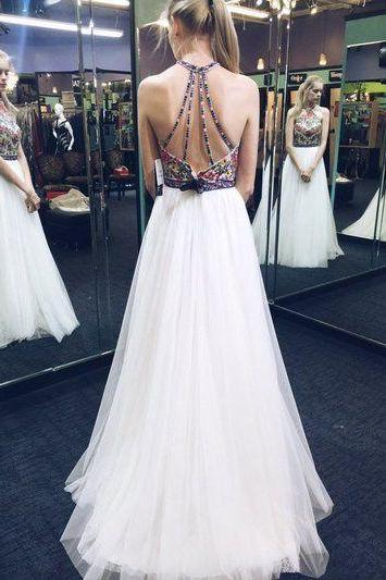 Special White Halter Long Prom Dresses wigth Embridery
