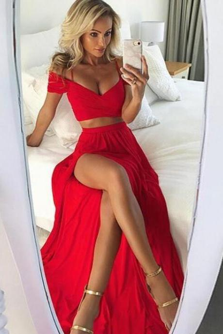Sexy Two Piece Off the Shoulder Red Split Side Prom Dresses