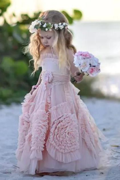 Cute Spaghettti Straps Pink Flower Girl Dresses with Handmade Flower