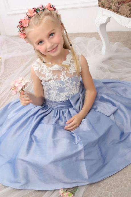 New Arrival Tea Length Blue Taffeta Sleeveless Flower Girl Dresses Pageant Dresses with Bowknot for Wedding Party