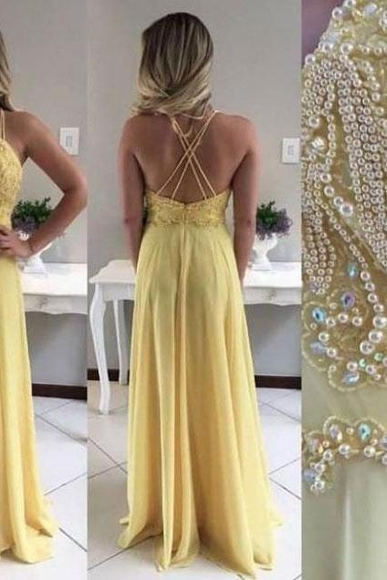 Spaghetti Straps Beaded Yellow Prom Dresses Long Evening Dress Criss Cross Dress