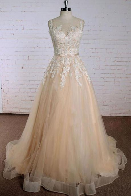 Charming Church Champagne Wedding Dresses Bridal Dress with Lace Sash