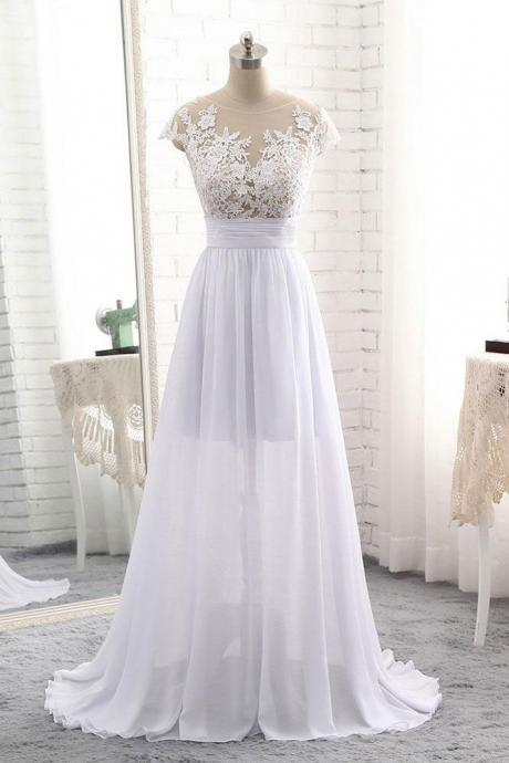 Lace Appliques Mesh Crew Neck Cap Sleeves Floor Length Chiffon A-Line Wedding Dress Featuring Ruched Belt