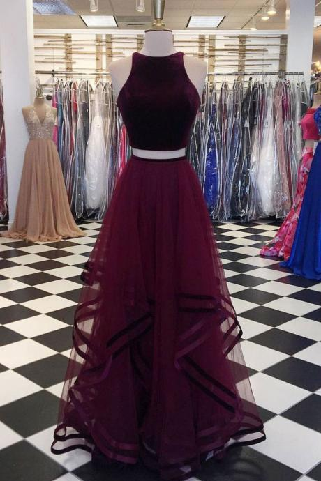 Sexy Two Piece Marron Long Prom Dresses for Women