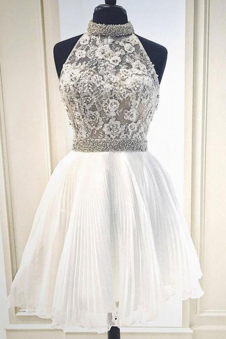 High Quality High Neck Short White Prom Dresses with Lace Pearls