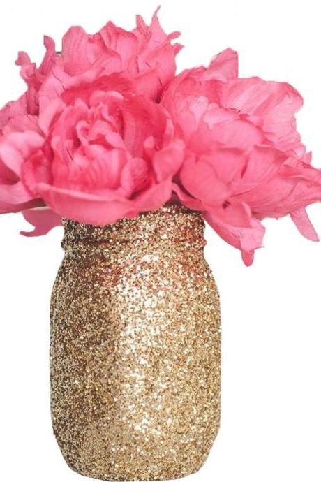 Sparkly Gold Mason Jars, Glitter Mason Jar for Wedding Party