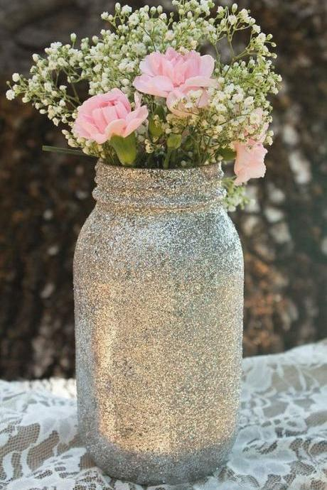 Sparky Silver Mason Jars, Glitter Mason Jar for Wedding Party