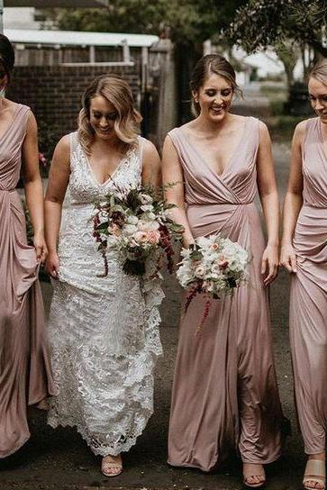 V Neck Long Bridesmaid Dresses for Wedding Party