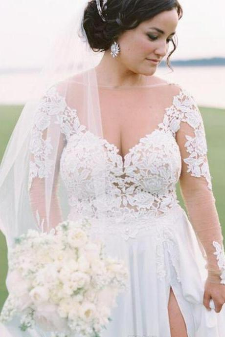 Sheer Neck Appliques Lace Split Side Plus Size Wedding Dress Bridal Dress with Long Sleeves