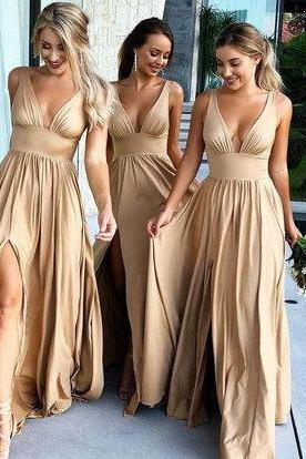 V Neck Split Side Bridesmaid Dress for Wedding Party