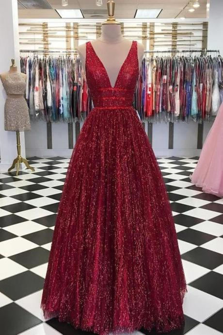 Deep V Neck Burgundy Long Prom Dresses Evening Dresses Birthday Gowns