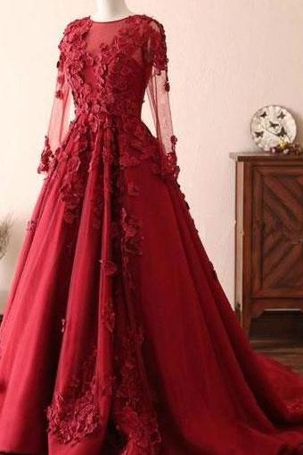 Burgundy Long Sleeves Prom Dresses Evening Gowns with Lace Appliques