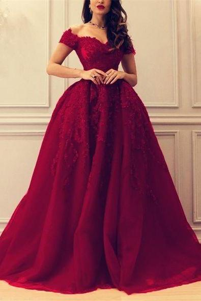 Off the Shoulder Burgundy Prom Dresses with Lace Appliques Evening Gowns