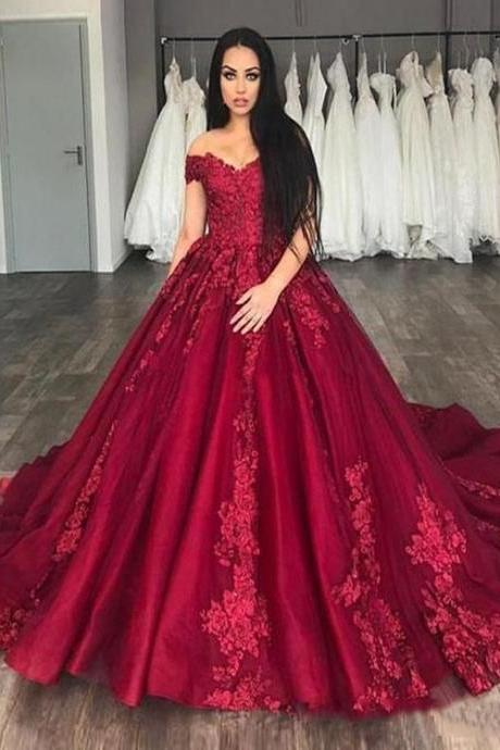 Off the Shoulder Burgundy Prom Dresses with Appliques for Women