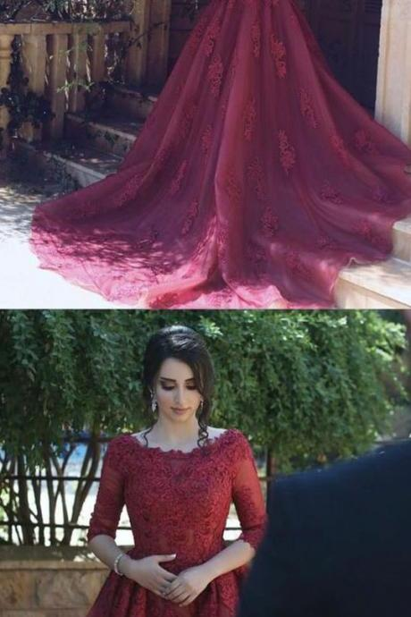 Half Sleeves Tulle Long Prom Dresses for Women Evening Gowns
