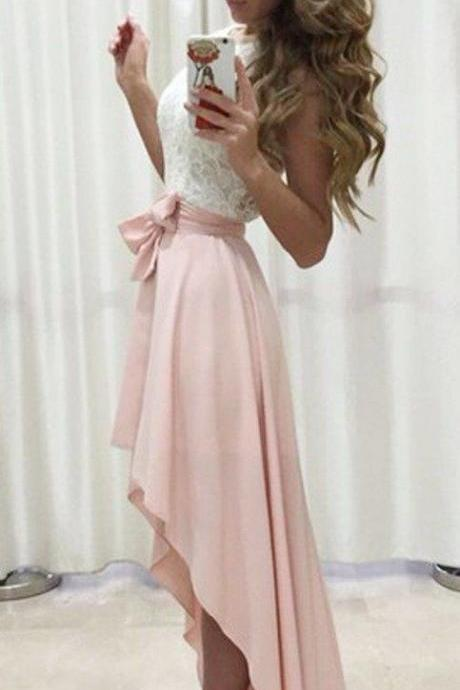 Pink Hi Low Prom Dress with White Lace Sash for Women