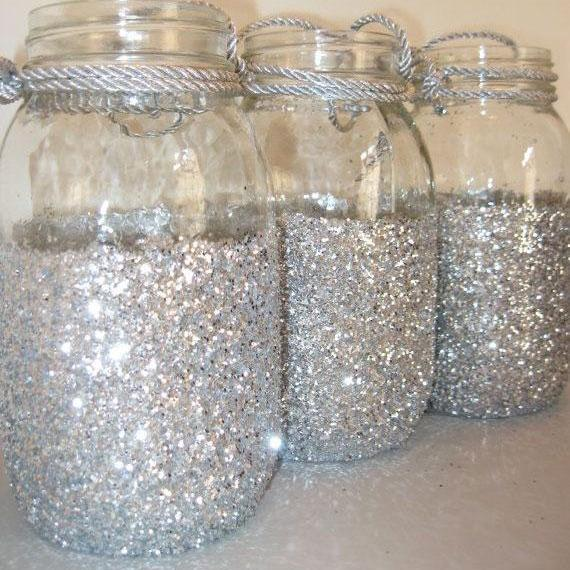 Sparkly Silver 3/4 Sequins Mason Jars, Glitter Mason Jar for Wedding and Party