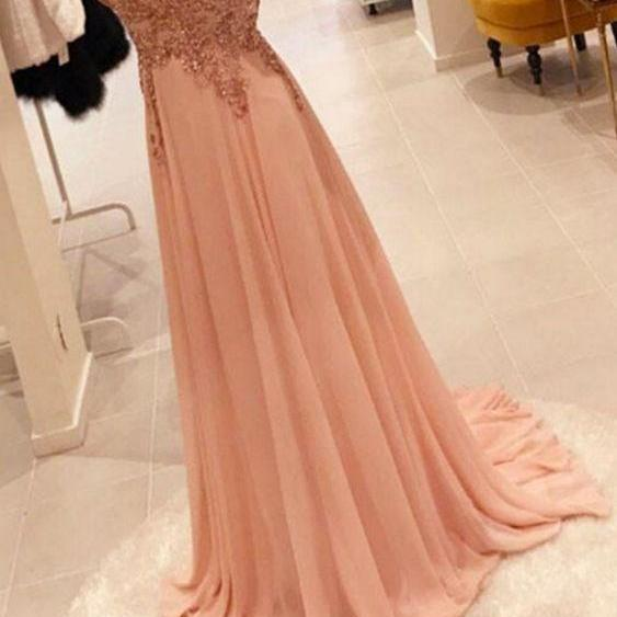 Sweep Train Chiffon Pear Pink Long Prom Dresses with Appliques